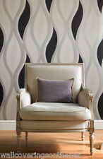 NEW White, Silver & Black, Decoratively Textured, Blown Vinyl Wallpaper