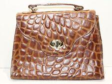 Vintage Brown Faux Alligator Purse Handbag Grace K Style
