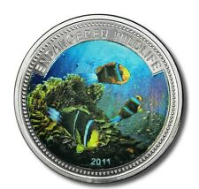 2011 Palau Large Color Proof $1 Tropical Black Fish/Mermaid/Neptune
