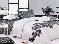 Ardor LOREN Black 250TC 100% Cotton QUEEN Size Quilt Doona Cover Set