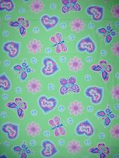 Dear Hearts Peace and Love Butterfly Light Green Cotton Fabric - BTY
