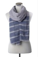 Nautical Fine and Bold Stripe Print Frayed Scarf - Navy (Women's, Summer, New)