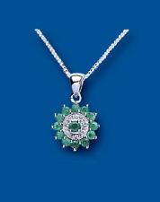 Collares y colgantes de joyería con gemas colgante de plata de ley esmeralda