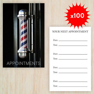100 x Appointment Cards Barbers Shop Gentleman Hairdressers FREE Storage Box