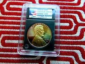 1909-S VDB LINCOLN  GOLD TONED  PROOF-LIKE  SIGNATURE RARE 1 OUNCE COPPER ROUND