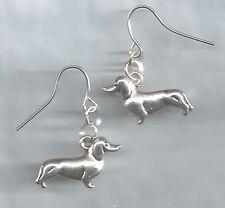 Dachshund/Wiener Dog earrings-small silver solid metal charms hook/drop/dangle
