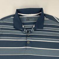 Nike Golf Tour Performance Polo Shirt Men's 2XL Blue Gray Striped DRI-FIT