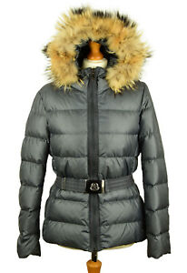 Moncler Angers Coat Women's Down Grey Jacket Hooded Size 4