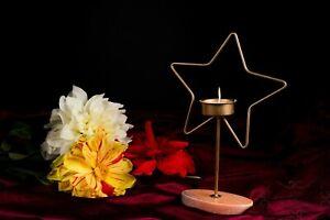 Metal Tea Light, Candlestick Holder, Marble Base Handmade Vintage