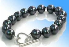 14mm black south sea shell pearl round beads bracelets 7.5''J57