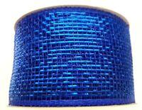 Sapphire Blue Metallic Mesh Craft Ribbon 63mm Wide 1 x 2m Length Gift Wrap