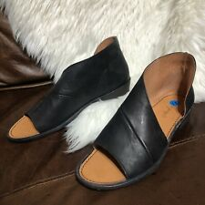 Free People Mont Blanc Size 41 Open Toe Ankle Flats Black Leather US Size 11