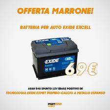 BATTERIA PER AUTO EXIDE EXCELL 60AH 540 SPUNTO 12V EB602 POSITIVO DX FIAT LANCIA