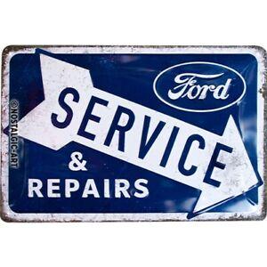 Ford Service & Repairs Blechschild Schild 3D geprägt Tin Sign 20 x 30 cm 22324