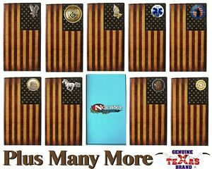 Classic Leather U.S. Flag Nocona Long Wallet - Custom
