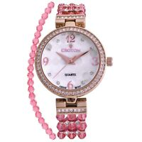 Croton Women's CN207563RGPK Quartz Crystal Accented Rose Gold-Tone 30mm Watch