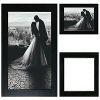 Black Picture Frame Wood Photo Case Wall Hanging Image Mount Photograph Stand UK