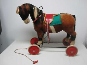 VINTAGE STEIFF RIDE ON MOHAIR HORSE with WHEELS, STEERING BAR & WHINNIES!