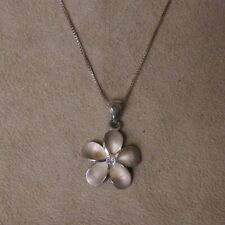 with Cz Center Stone Sterling Silver Plumeria Necklace