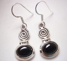 Black Onyx Ovals with Spirals 925 Sterling Silver Dangle Earrings
