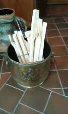 Vintage brass log bucket with lion heads and embossed picture