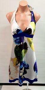 💜 MISS ME Cotton Halter A-Line Tea Dress Multi Floral Size L Buy7=FreePost L865