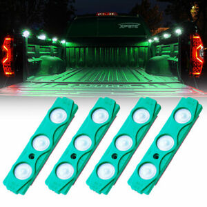 Xprite 4Pcs Green LED Lights Pods Car Truck Lighting Rock Light Kit Underglow