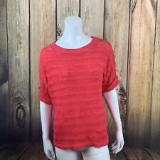 Andrew Marc Short Sleeve Open Knit Sweater Small