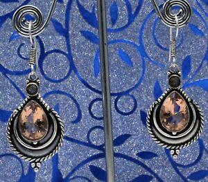 "925 Sterling Silver Morganite & Smoky Quartz Gemstone Jewelry Earring Size-1.80"""