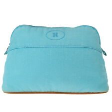 Auth Hermes Bolide Cotton,Leather Pouch Blue 03FA425