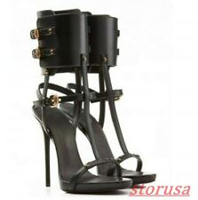 Womens Leather T-Strap Cut Out Pump Stiletto High Heels Gladiator Sandals Boots