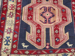 "4'3""x10'  Blue Vintage Antique Birds Authentic Azarbaijan Oriental rug runner"