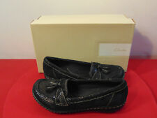 CLARKS COLLECTION BLACK SNAKE SKIN SOFT CUSHION LOAFERS SIZE 6 ORIGINAL  BOX