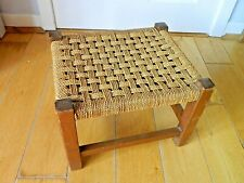 Vintage Retro Lovely Low Wooden Stool with String Seat