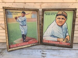 Antique Style BABE RUTH 1933 Goudey Baseball Wood Display Signs Get Both 12x16