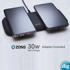 Zens Dual Qi Fast Wireless Charger Pad - Rapid 30W Charging (2x15W) - Black