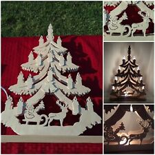 Wooden Ratags Holtzdesign Christmas Tree w/ Santa Candles Germany Erzgebirge
