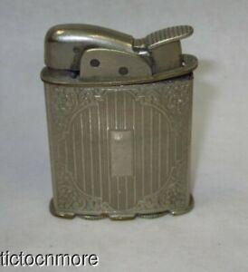 VINTAGE EVANS ROLLER POCKET LIGHTER PAT No 10923 1952 STRIPED SCROLL SIGNET