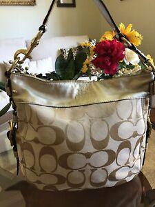 Authentic COACH Zoe Large Hobo Shoulder Bag purse handbag F12674 tan gold Clean!