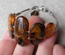 7,2-8,4inch Vintage Elegant Genuine Baltic Amber Bracelet Tibet Silver