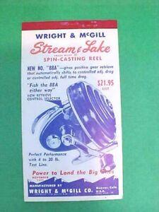 NOS vtg November 1959 Wright & McGill Notepad Calendar Stream Spinning Reel 88A