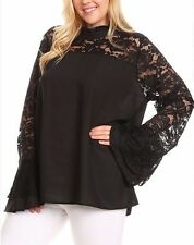 Plus Size Lace Bell Sleeve Shirt Blouse Boho Top Black Red Royal Blue