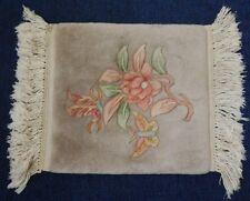 "14"" x 14"" Beige Flower Butterflies Vintage Heavy Plush Area Rug"