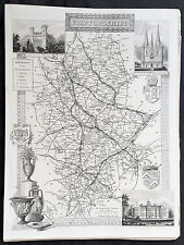1836 Thomas Moule Original Antique Map of The County of Staffordshire, England