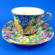 """Bright Floral Chintz Royal Winton """" Somerset """" Tea Cup and Saucer Set"""