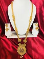 Bollywood Indian Bridal Temple Chain Necklace Earrings Jewellery Gold Set H22