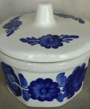 Vintage Hand Painted Ceramic Wloclawek Fajans Sugar Bowl With Lid Made In Poland