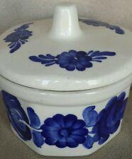 Vintage Hand Painted Ceramic Wloclawek Fajans Sugar Bowl With Lid Made In Poland