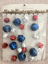 6' Red White & Blue Jingle Bell Christmas Patriotic Garland NEW
