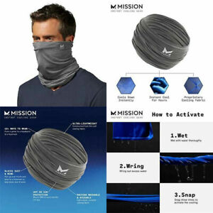 Black Mission Cooling Neck Gaiter 12 Ways 2 Wears Face Mask UPF 50 Cool When Wet